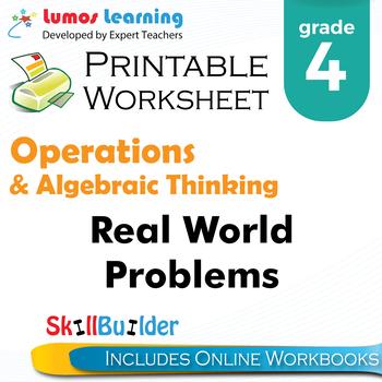 Real World Problems Printable Worksheet, Grade 4