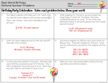 Rational Numbers Word Problems Worksheets by The Clever Clover | TpT