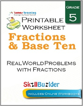 Real World Problems with Fractions Printable Worksheet, Grade 5