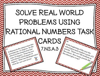 Real World Problems with Rational Numbers Task Cards 7.NS.A.3