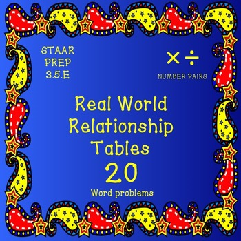 Real World Relationship Tables (20 Word Problems)