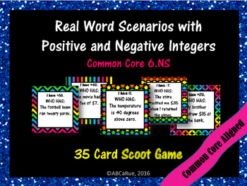 Real World Vocabulary: Positive and Negative Integers Scoot Game