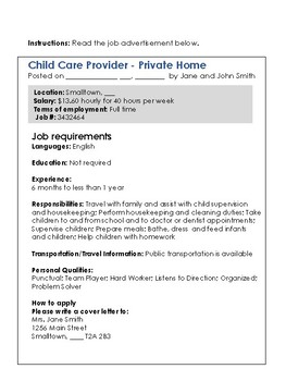 Real World Task for LINC CLB 3-5 - Use a Job Ad to Write a Cover Letter