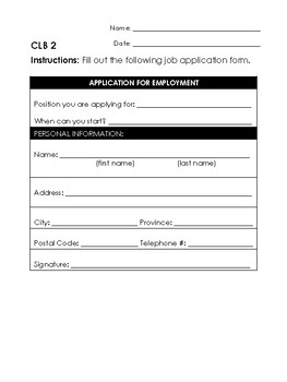 Real World Task for LINC CLB 2-6 - Fill Out a Job Application Form