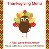 Thanksgiving Math Budget Activity - Real World