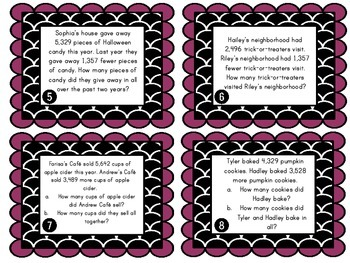 Real World Two Step Word Problem Task Cards: Addition and Subtraction to 10,000