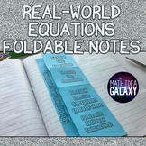 Real-World Two-Steps Equations - Foldable Notes