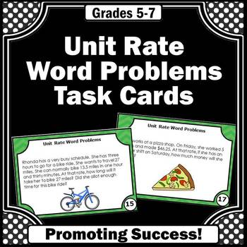 Unit Rate 6th Grade Math Word Problems Task Cards