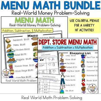 Real-World Word Problem Solving Bundle: Menu & Department Store