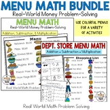 Real-World Word Problem Solving Bundle: Menu & Department Store