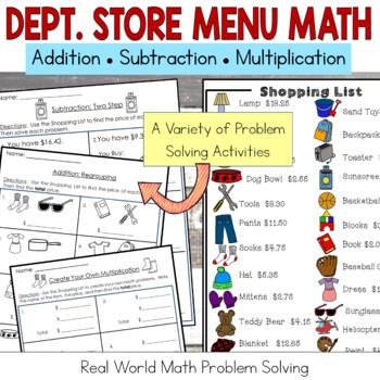 Real-World Word Problem Solving Bundle: Menu, Pet & Dept Store