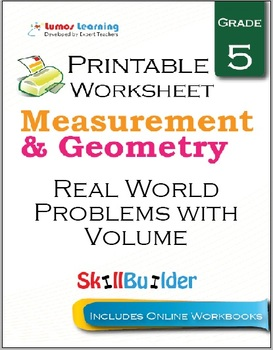 Real World problems with Volume Printable Worksheet, Grade 5