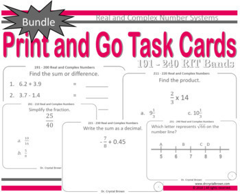 Real and Complex Number Systems Task Cards Bundle: RIT Bands 191 - 240