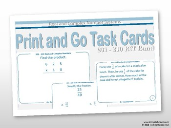 Real and Complex Number Systems Task Cards:  RIT Band 201 - 210