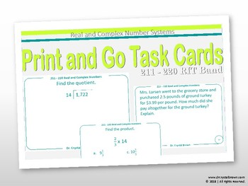 Real and Complex Number Systems Task Cards:  RIT Band 211 - 220