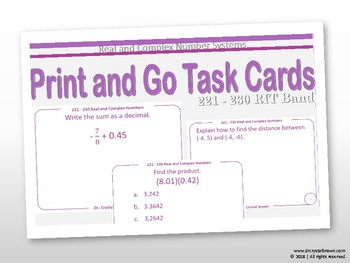 Real and Complex Number Systems Task Cards:  RIT Band 221 - 230