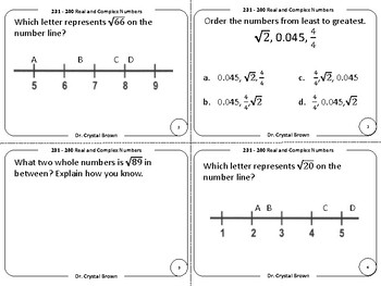 Real and Complex Number Systems Task Cards:  RIT Band 231 - 240