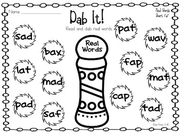 Real and Nonsense Word Bingo Dauber Printables