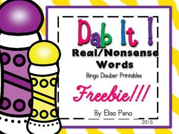 Real and Nonsense Word Bingo Dauber Printables