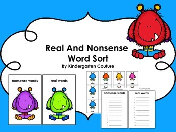Real and Nonsense Word Sort -Monsters