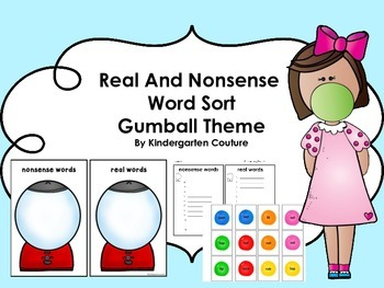 Real and Nonsense Word Sort -Gumball Theme