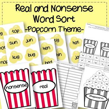 Real and Nonsense Word Sort Popcorn Theme