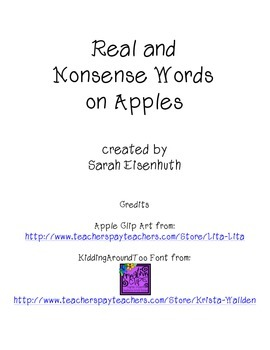 Real and Nonsense Words on Apples FREEBIE