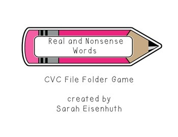 Real and Nonsense Words - Pencils File Folder Game
