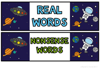 Real and Nonsense Words Space Theme
