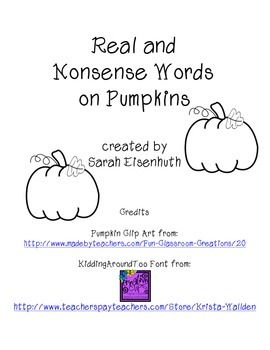 Real and Nonsense Words on Pumpkins