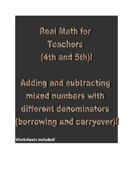 Real math for Teachers (4th and 5th).