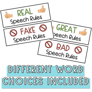 Real or Fake Speech Rules - BACK TO SCHOOL