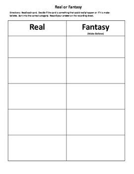 Real or Fantasy (Make-Believe)