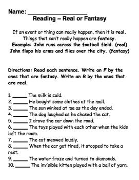 Real or Fantasy Sentences
