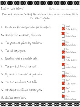 Real or Make Believe Practice Worksheet