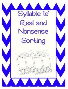 Real or Nonsense Sort - Syllable le
