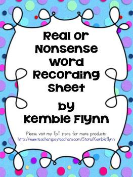 Real or Nonsense Word? Recording sheets