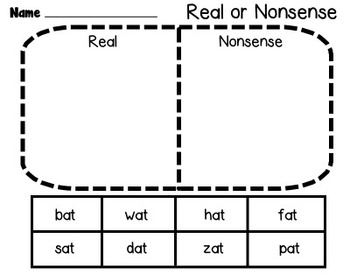 Real or Nonsense Word Sort Freebie
