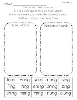 Real or Nonsense Word Sort - Diphthong ew/oo, ow/ou, and ng