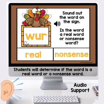 Real or Nonsense Words November Themed