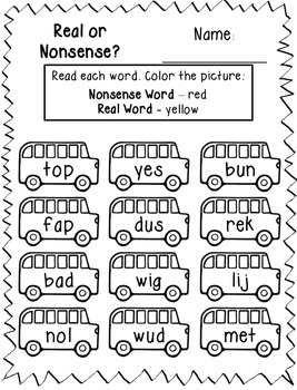 Real or Nonsense Words Printables - Back to School