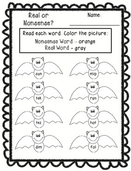 Real or Nonsense Words Printables - Halloween
