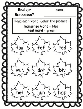 Real or Nonsense Words Printables - Thanksgiving