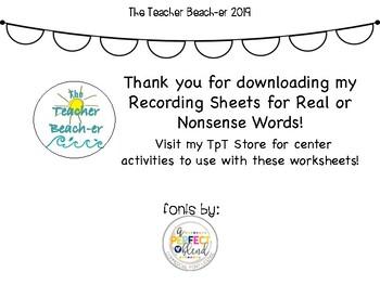 Real or Nonsense Words Recording Sheets