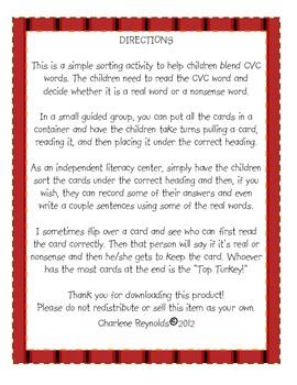 Real or Nonsense Words? Turkey Theme