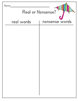 Real or Nonsense word decoding