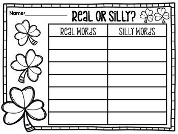Real or Silly: St. Patrick's Day Nonsense Word Sorting