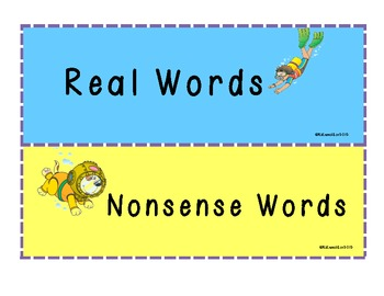 Real vs. Nonsense Words -Under Water Theme