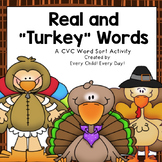 Thanksgiving Real vs. Turkey (CVC Nonsense) Words