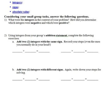 Real-world Integers Lesson + Project